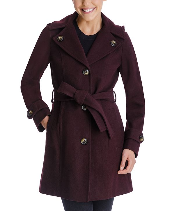 London Fog Single-Breasted Belted Hooded Walker Coat