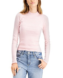 Juniors' Textured Mock-Neck Sweater