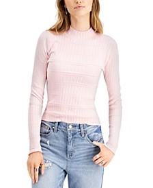 Juniors' Textured Mock-Neck Sweater