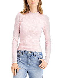 Freshman Juniors' Textured Mock-Neck Sweater