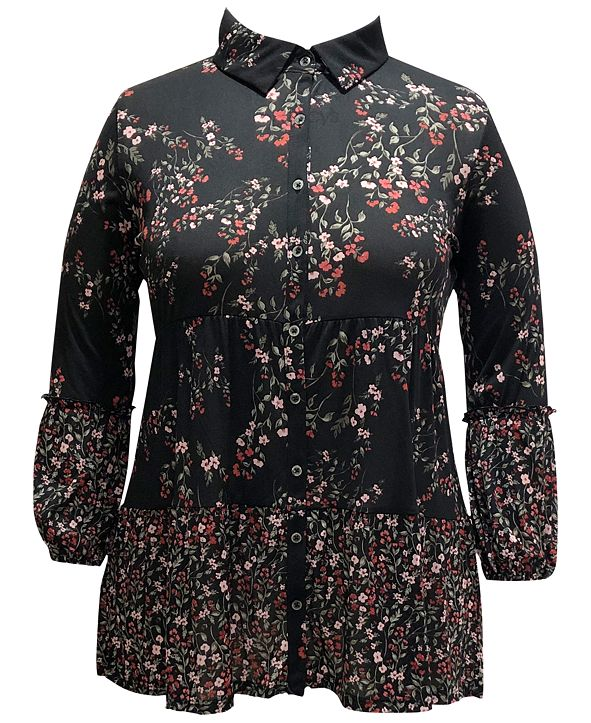 Style & Co Plus Size Floral-Print Mesh Shirt, Created for Macy's
