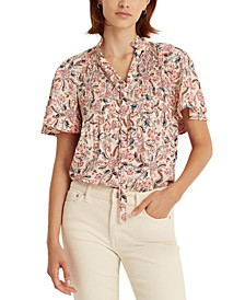 Flutter-Sleeve Floral Top