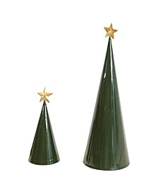 """17.5"""" Metal Cone Trees with Gold-Tone Star Set of 2 Sizes"""
