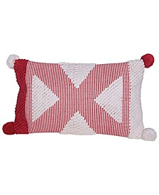 "Textured Cotton Woven Lumbar Pillow with Pom Poms, 26"" x 14"""
