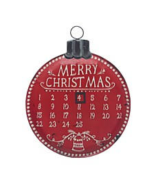 "Ornament Shaped ""Merry Christmas"" Metal Advent Calendar Wall Decor with Magnet"