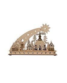 """17.75"""" Wood Christmas Scene with Shooting Star"""