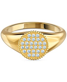 Gold-Tone Crystal Signet Ring