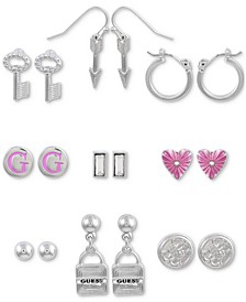 Silver-Tone 9-Pc. Set Assorted Symbol Earrings