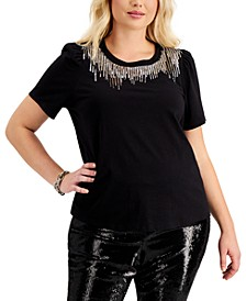 I.N.C. Plus Size Sequin-Detail Cotton T-Shirt, Created for Macy's
