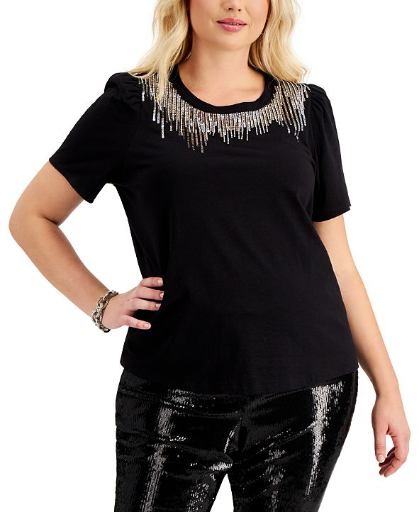 INC International Concepts I.N.C. Plus Size Sequin-Detail Cotton T-Shirt, Created for Macy's
