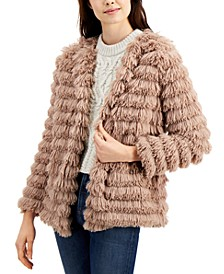 Fringe Faux-Fur Open-Front Jacket