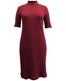 Petite Ribbed Mock-Neck Dress, Created for Macy's