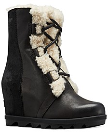 Joan of Arctic Wedge II Shearling-Trim Lug Sole Booties
