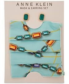 Gold-Tone Stone Stud Earrings & Face Mask Set