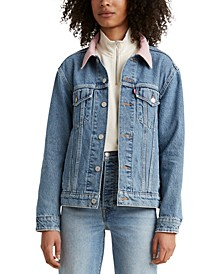 Cotton Ex-Boyfriend Corduroy-Collar Denim Trucker Jacket
