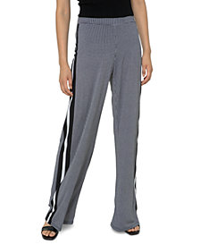 Michael Michael Kors Plus Size Houndstooth-Print Striped Wide-Leg Pants