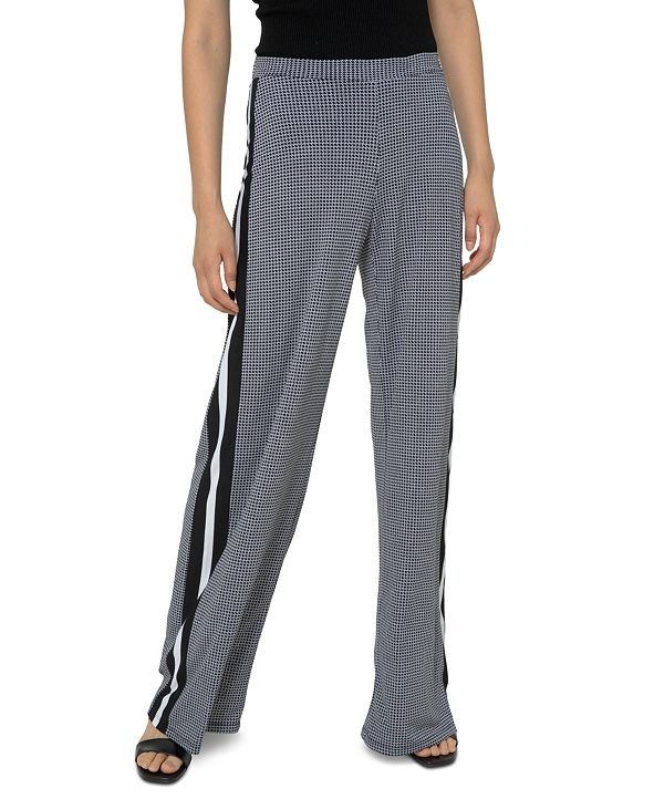 Michael Kors Plus Size Houndstooth-Print Striped Wide-Leg Pants