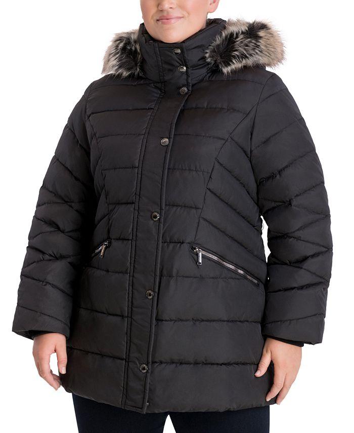 London Fog - Plus Size Faux-Fur-Trim Hooded Puffer Coat