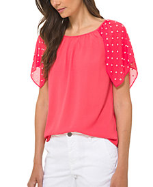 Michael Michael Kors Dotted-Sleeve Top