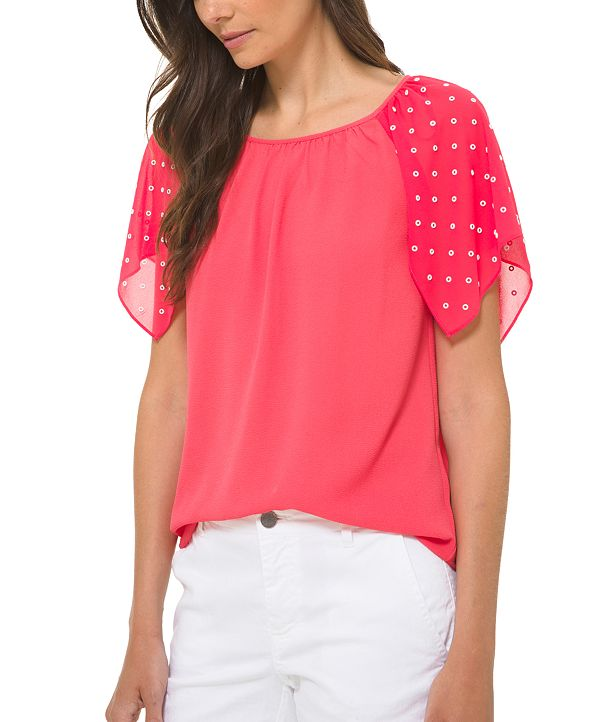 Michael Kors Dotted-Sleeve Top