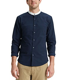 Men's Regular-Fit Supreme Flex Performance Stretch Contrast Band-Collar Shirt