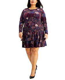 Plus Size Printed Long-Sleeve Flounce Dress