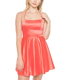 Juniors' Lace-Up Back Fit & Flare Dress