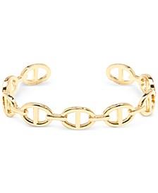 Gold-Tone Oval Link Cuff Bracelet