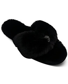 INC Women's Fluffy Thong Slippers, Created for Macy's