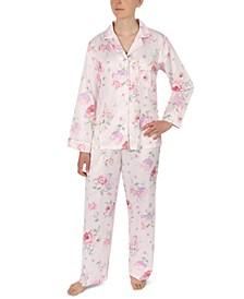 Printed Brushed Satin Pajama Set
