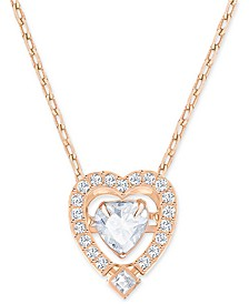 "Rose Gold-Tone Dancing Crystal Heart Pendant Necklace, 14-7/8"" + 2"" extender"