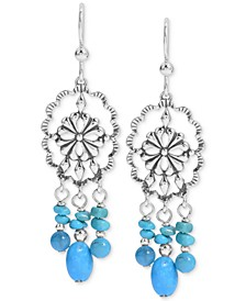 Turquoise Chandelier Drop Earrings in Sterling Silver