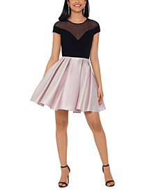 Illusion Colorblocked Fit & Flare Dress
