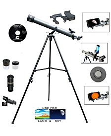 700mm x 60mm Day and Night Telescope Kit Plus Smartphone Adapter and Solar Filter Cap