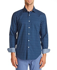 Tallila Men's Slim-fit Stretch Dot Long Sleeve Shirt and a Free Face Mask With Purchase