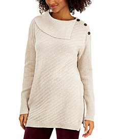 Ribbed Button-Detail Tunic Sweater, in Regular & Petite, Created for Macy's