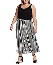 Plus Size Variegated Graphic Striped Skirt