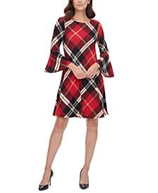 Petite Plaid Bell-Sleeve Sweater Dress