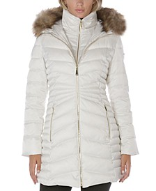 Faux-Fur-Trim Hooded Puffer Coat