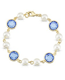 Gold-Tone Imitation Pearl with Blue Channels Link Bracelet