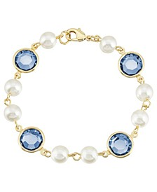 Gold-Tone Imitation Pearl with Dark Blue Channels Link Bracelet