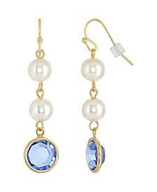 Gold-Tone Imitation Pearl with Blue Channels Drop Earring