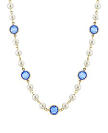 """Gold-Tone Imitation Pearl with Blue Channels 16"""" Adjustable Necklace"""