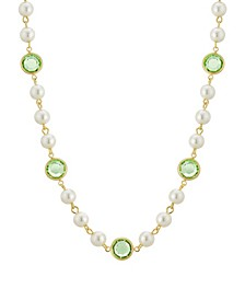 """Gold-Tone Imitation Pearl with Light Green Channels 16"""" Adjustable Necklace"""