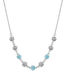"Silver-Tone Round Balls with Aqua Fireballs 16"" Adjustable Necklace"