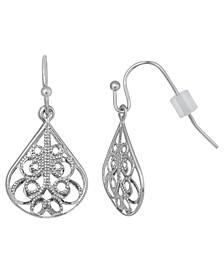 Silver-Tone Filigree Drop Earring