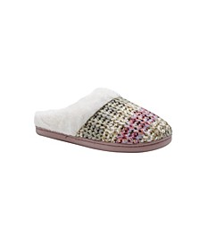 Kensie Women's Cozy Shimmer Knit Slip On Comfy House Slippers
