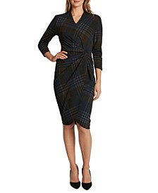 Plaid Knotted Faux-Wrap Sheath Dress