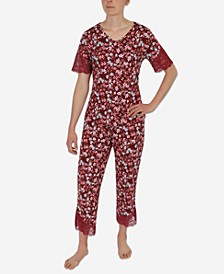 Lace-Trim Capri Pajama Set