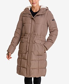Faux-Fur-Lined Hooded Puffer Coat